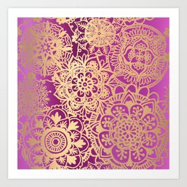 Pink and Gold Mandala Pattern Art Print