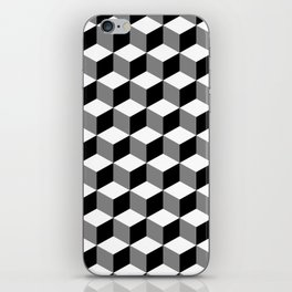 Cube Pattern Black White Grey iPhone Skin
