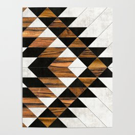 Urban Tribal Pattern No.9 - Aztec - Concrete and Wood Poster