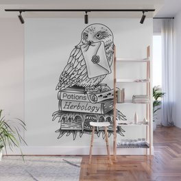 Hedwig On Books Wall Mural
