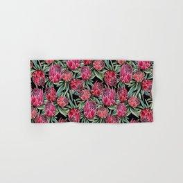 Protea flowers, watercolor botanical on black Hand & Bath Towel