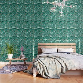 Wolves of the World Green pattern Wallpaper