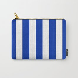 International Klein Blue - solid color - white vertical lines pattern Carry-All Pouch
