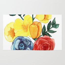 Watercolor Flower Bouquet Rug