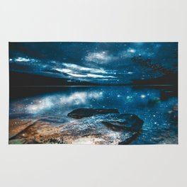 Magical Mountain Lake Teal Blue Brown Rug