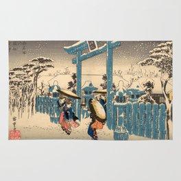 The Gion Shrine in Snow Rug
