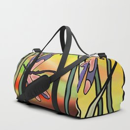 dragonflies in the grass on a colored background Duffle Bag