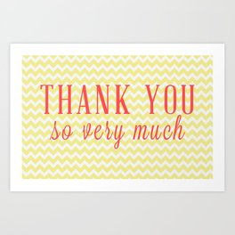 Thank You - Yellow Chevron Art Print