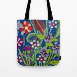 Cozy Felted Wool Flower Garden Tote Bag