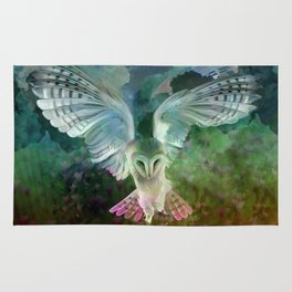 """Owl flight and spring night"" Rug"