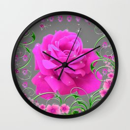 ROMANTIC CERISE PINK ROSE GREY ART RIBBONS Wall Clock