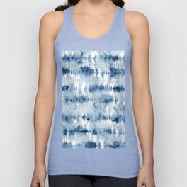 Modern hand painted dark blue tie dye batik watercolor Unisex Tank Top