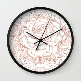 Mandala Lunar Rose Gold Wall Clock