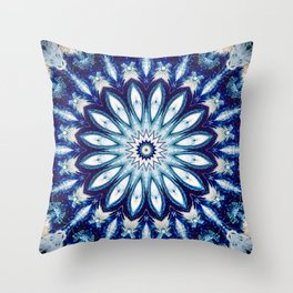 Dark Blue Textured Mandala design Throw Pillow