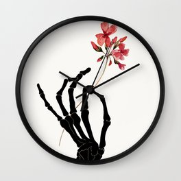 Skeleton Hand with Flower Wall Clock