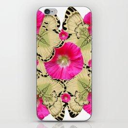 FUCHSIA PINK HOLLYHOCKS YELLOW BUTTERFLIES iPhone Skin