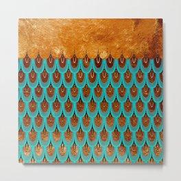 Copper Metal Foil and Aqua Mermaid Scales- Abstract glitter pattern Metal Print