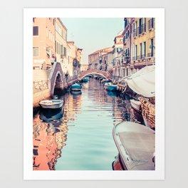 Boats rest in a Venice Canal Fine Art Print Art Print