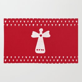 Christmas Angel with hearts on red Rug