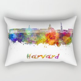 Harvard skyline in watercolor Rectangular Pillow