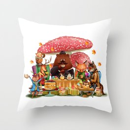 Autumn Time Tea Party Throw Pillow