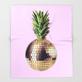 Ananas party (pineapple) Pink version Throw Blanket