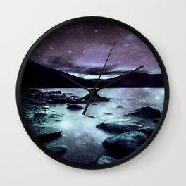 Magical Mountain Lake Dark Lavender Teal Wall Clock
