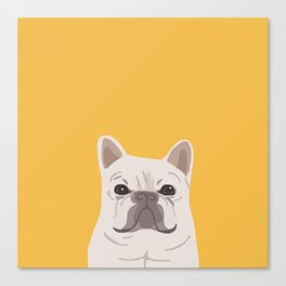 Frenchie on Yellow Canvas Print