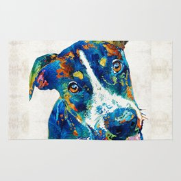 Colorful Dog Art - Happy Go Lucky - By Sharon Cummings Rug