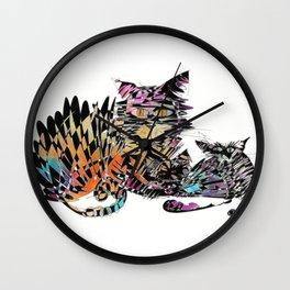 Three colored cats Wall Clock