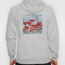 Mouse and poppies on a cloudy day Hoody
