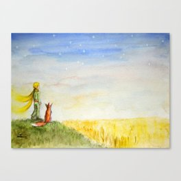 Little Prince, Fox and Wheat Fields Canvas Print