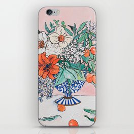 California Summer Bouquet - Oranges and Lily Blossoms in Blue and White Urn iPhone Skin