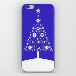 Christmas Tree Made Of Snowflakes On Purple Background  iPhone Skin