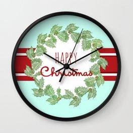 Happy Christmas striped holiday Wall Clock