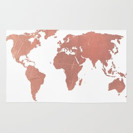 Faux Rose Gold World Map Rug