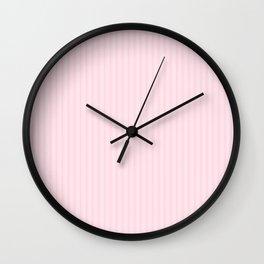 Light Soft Pastel Pink Mattress Ticking Stripes Wall Clock