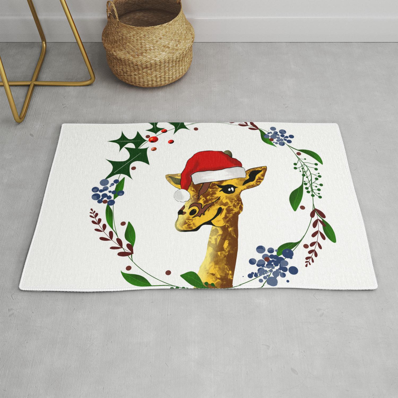 Christmas giraffe Rug by mariamarinova1