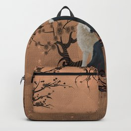 Awesome wolf in black and white Backpack