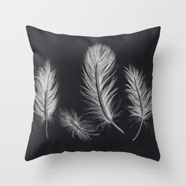 Chalk feather collection Throw Pillow