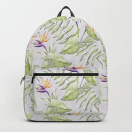 Watercolour Bird-of-Paradise Flowers and Leaves Pattern Backpack