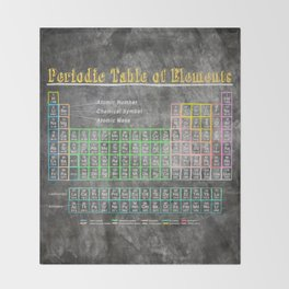 Old School Periodic Table Of Elements - Chalkboard Style Throw Blanket