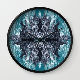 Horse skull pattern blue Wall Clock