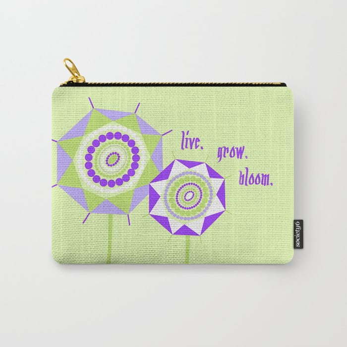 Lavender Mint Abstract Geometric Floral Flowers Illustration Carry-All Pouch