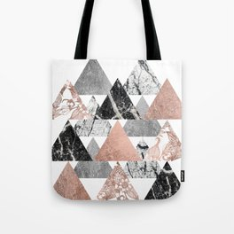 Marble Rose Gold Silver and Floral Geo Triangles Tote Bag