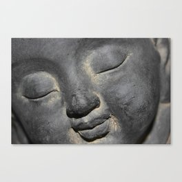 Gentle Buddha Face Stone Sculpture Canvas Print