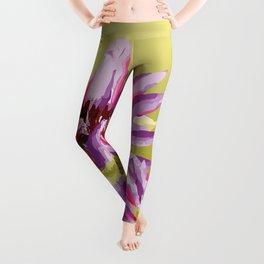 Water Lilies violet green Leggings