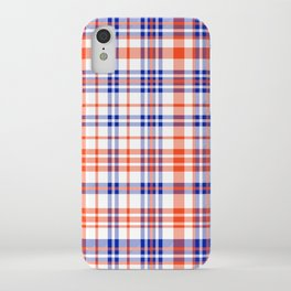 Florida University silhouette orange and blue pattern sports football college gators gator fan plaid iPhone Case