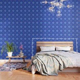 Neon blue striped mandala Wallpaper