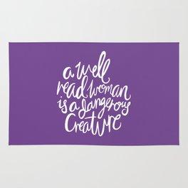 Well Read Woman - Feminist Nerd Girl Quote - White Purple Rug